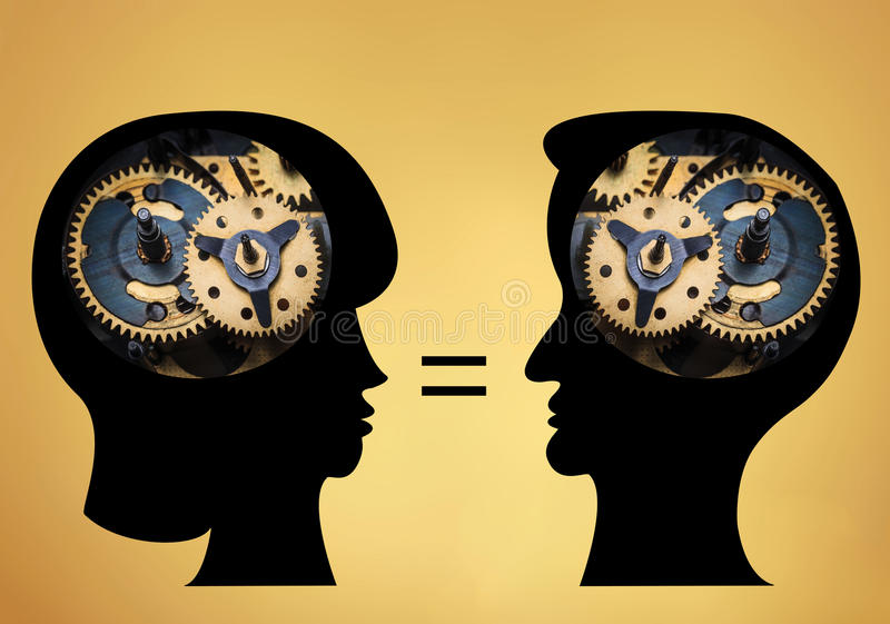 Les têtes masculines et femelles est remplies de vitesses sur le fond d'or illustration libre de droits