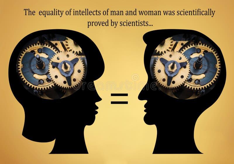 Les têtes masculines et femelles est remplies de vitesses sur le fond d'or illustration stock