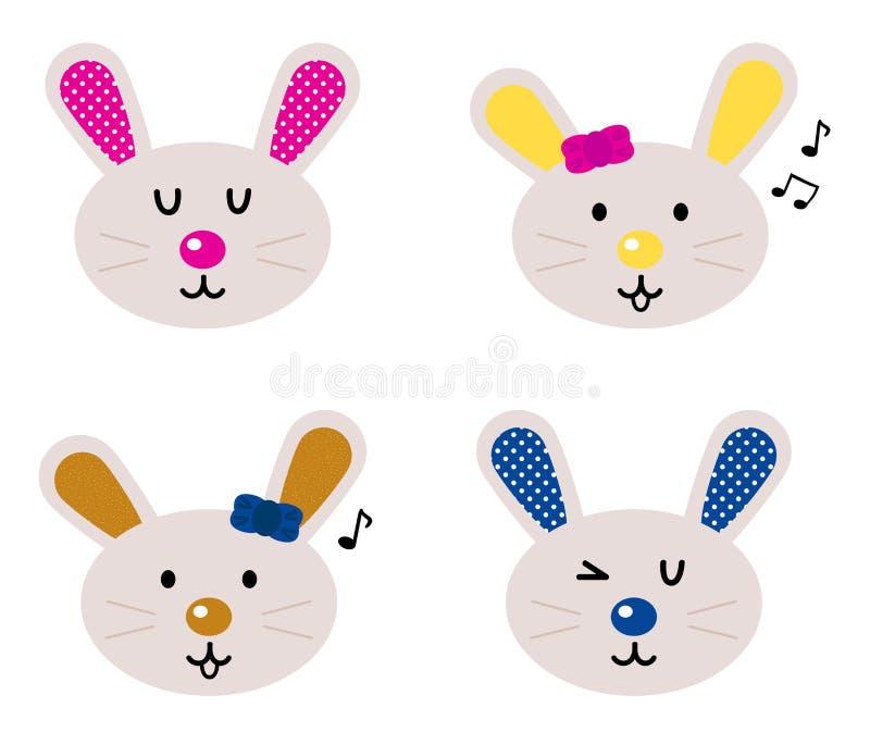 Les têtes mignonnes de lapin ont placé illustration libre de droits