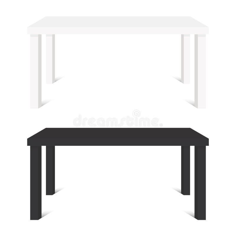Les tables blanches et noires d'isolement sur le fond blanc dirigent l'illustration illustration de vecteur