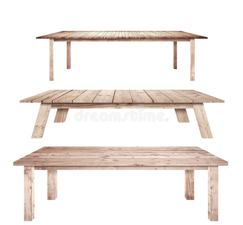 Les tables en bois de vintage de Brown sont fond blanc d'isolement photos libres de droits