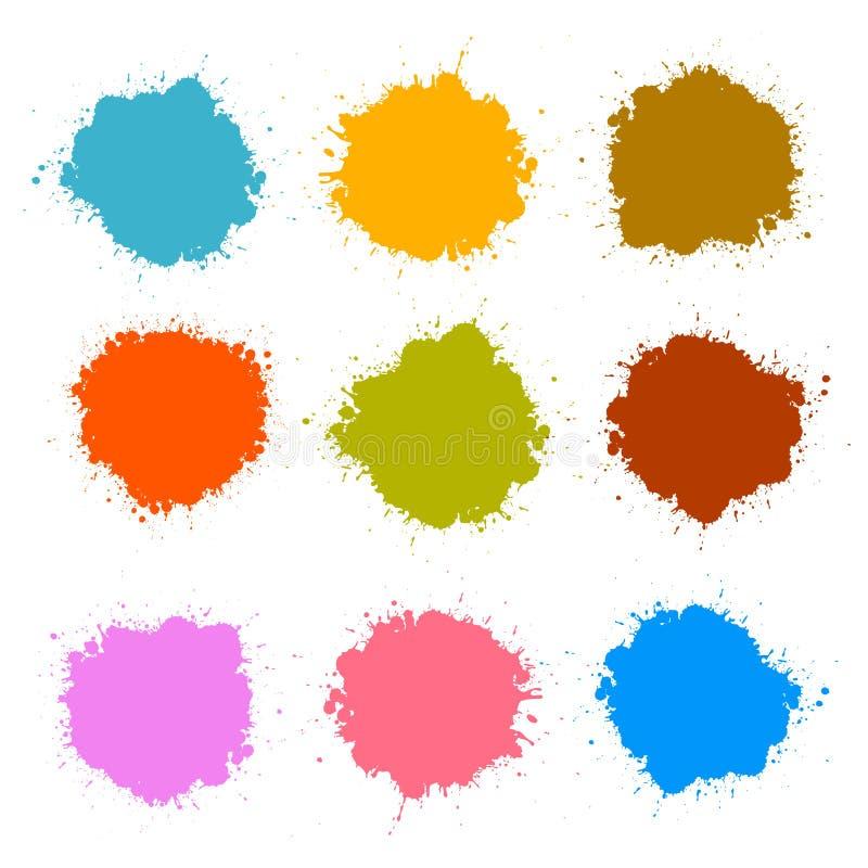 Les taches colorées de vecteur, éponge, éclabousse l'ensemble illustration de vecteur