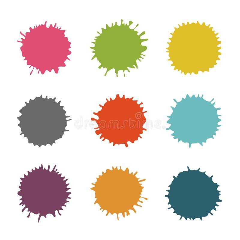 Les taches colorées de vecteur, éponge, éclabousse l'ensemble illustration libre de droits