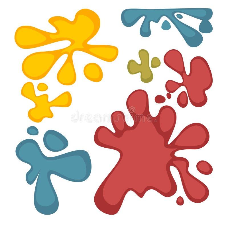 Les taches colorées ont placé d'isolement sur l'illustration blanche de vecteur illustration stock