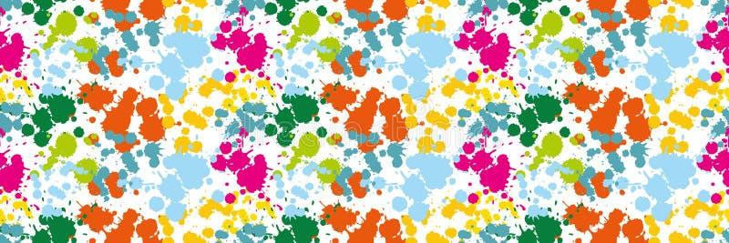 Les taches colorées sur la tache bleue de modèle sans couture blanc de fond verdissent la limande et la tache oranges s de calomn illustration stock