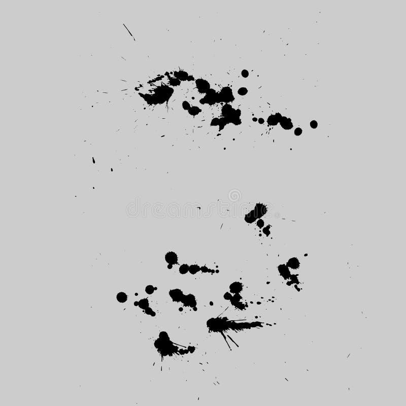 Les taches de vecteur, éponge, éclabousse l'ensemble Splats d'encre illustration de vecteur