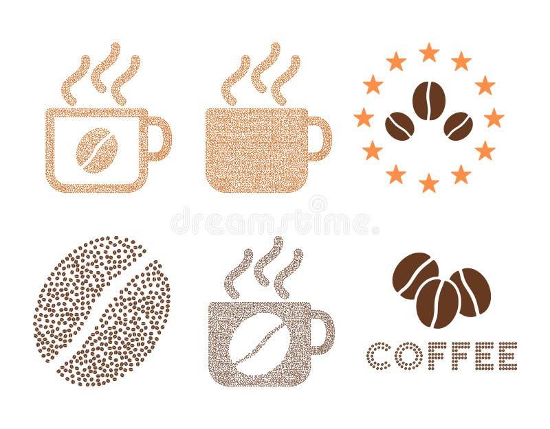 Les tasses et le logo de café dirigent la composition avec des grains de café illustration stock
