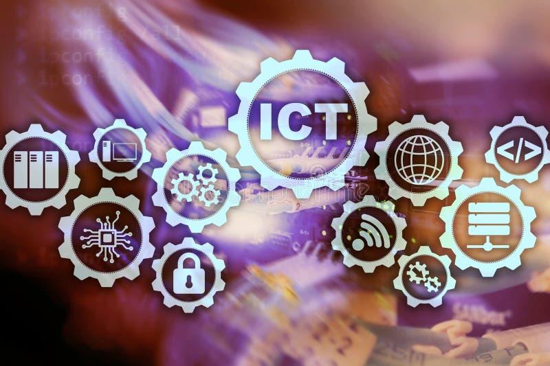LES TCI Technologie de l'information et des communications sur le fond moderne de pièce de serveur Inscription sur un écran virtu illustration de vecteur