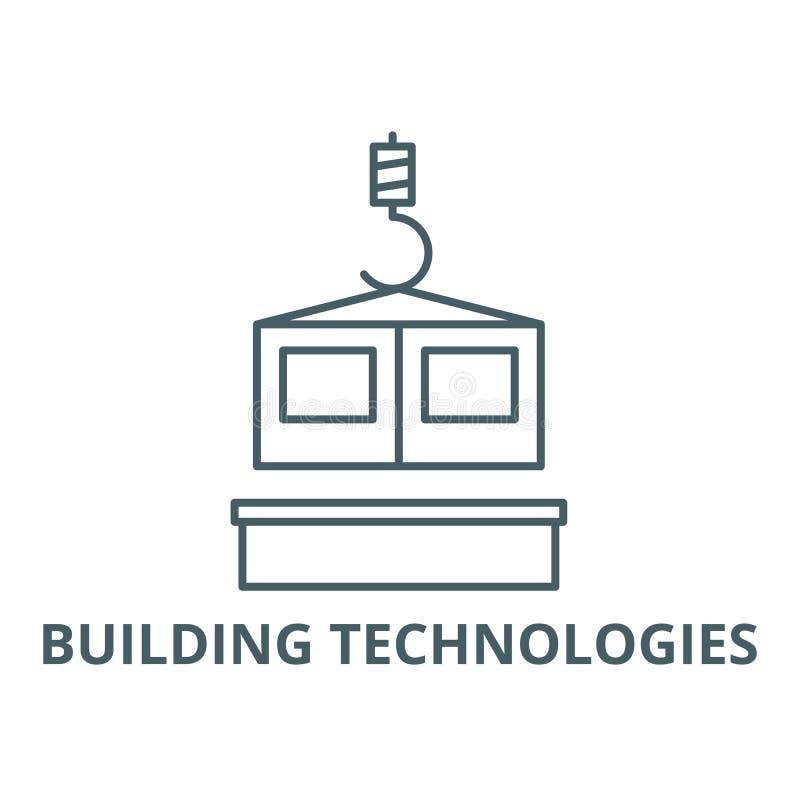 Les technologies de la construction rayent l'icône, vecteur Les technologies de la construction décrivent le signe, symbole de co illustration libre de droits