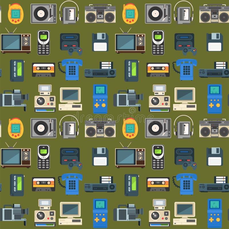 Les technologies de vintage dirigent le modèle sans couture de rétro de multimédia de divertissement vieille communication électr illustration libre de droits