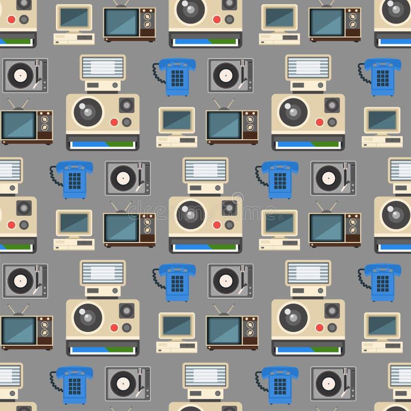 Les technologies de vintage dirigent le modèle sans couture de rétro de multimédia de divertissement vieille communication électr illustration stock