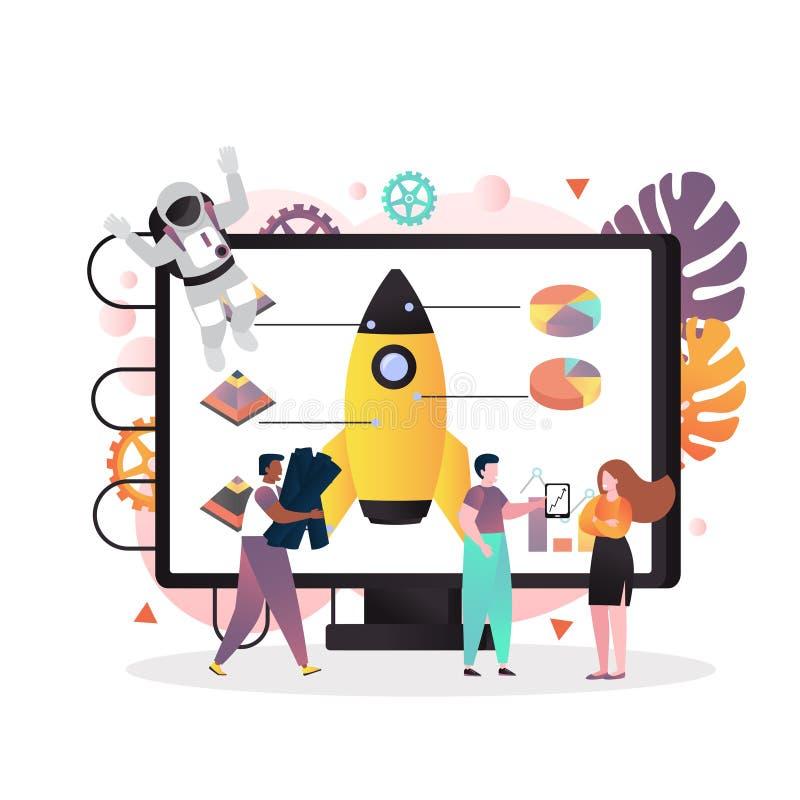 Les technologies spatiales dirigent le concept pour la bannière de Web, page de site Web illustration de vecteur