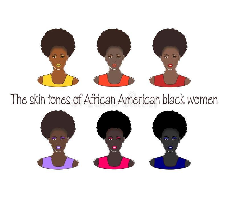 Les teints de la femme de couleur d'Afro-américain Ensemble de vecteur de dames noires de belle mode élégante dessinant l'illustr illustration stock