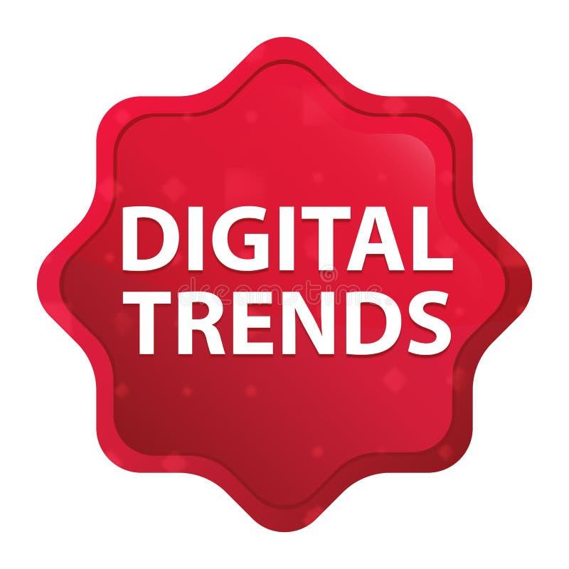 Les tendances de Digital brumeuses ont monté bouton rouge d'autocollant de starburst illustration stock