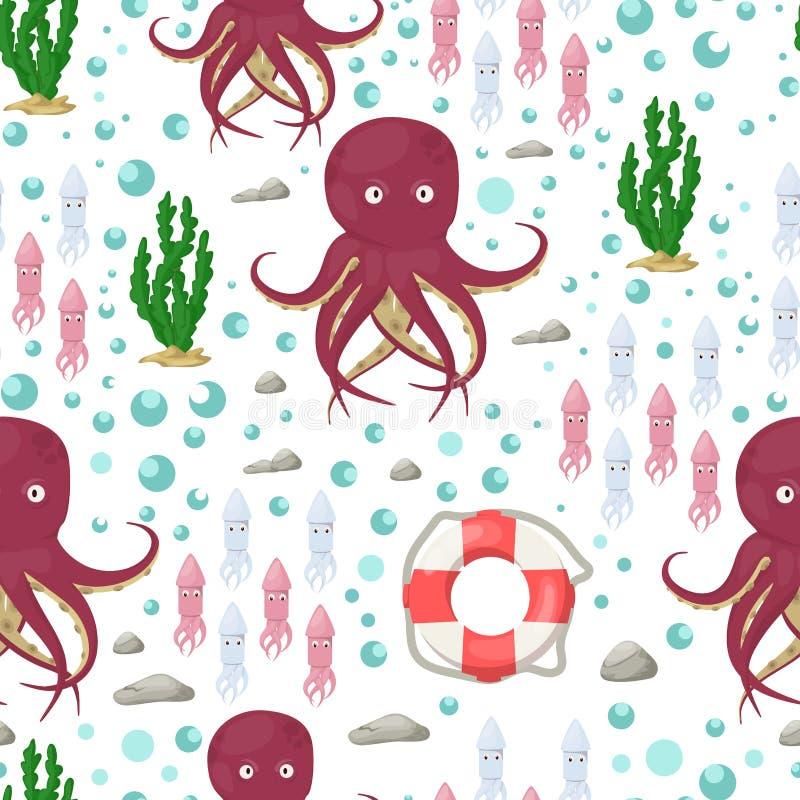 Les tentacules de poulpe dirigent l'illustration sans couture de vecteur de poissons d'océan de fruits de mer de l'eau marine de  illustration libre de droits