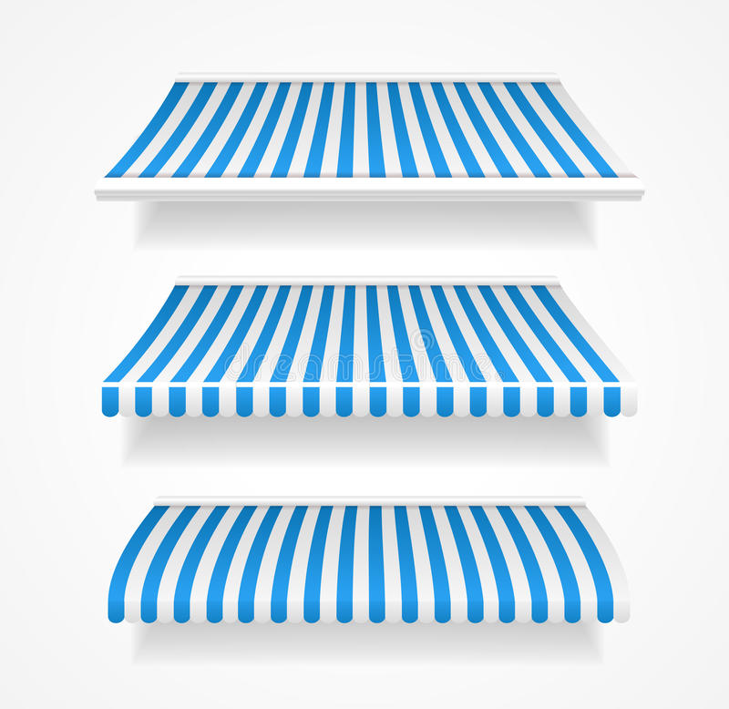 Les tentes colorées de vecteur pour la boutique ont placé le bleu illustration de vecteur