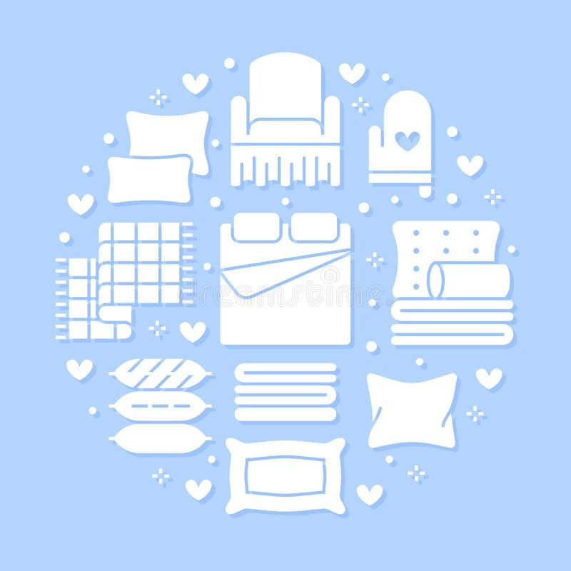 Les textiles à la maison entourent le calibre avec les icônes plates de glyph La literie, toile de chambre à coucher, oreillers,  illustration stock