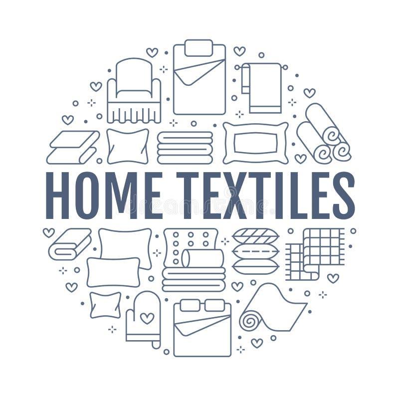 Les textiles ? la maison entourent le calibre avec la ligne plate ic?nes La literie, toile de chambre ? coucher, oreillers, feuil illustration de vecteur