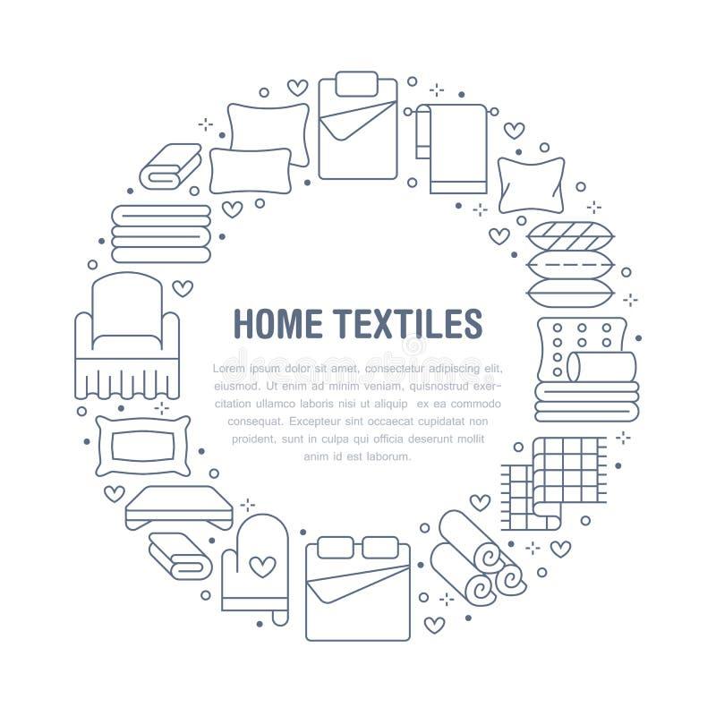 Les textiles ? la maison entourent le calibre avec la ligne plate ic?nes La literie, toile de chambre ? coucher, oreillers, feuil illustration stock