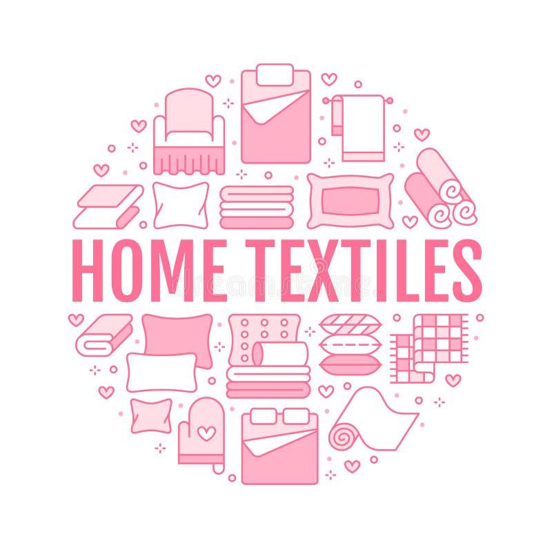 Les textiles ? la maison entourent le calibre avec la ligne plate ic?nes La literie, toile de chambre ? coucher, oreillers, feuil illustration libre de droits