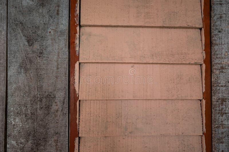 Les textures de fond ou les vieux papiers peints en bois ont ?tendu le vertical et horizontal, orange-clair, rouge et gris peint  photographie stock libre de droits