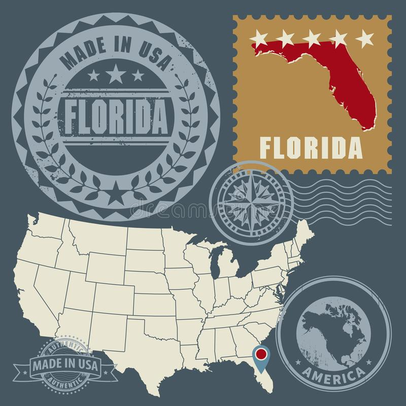 Les timbres abstraits de courrier ont placé avec le nom et la carte de la Floride, Etats-Unis illustration de vecteur