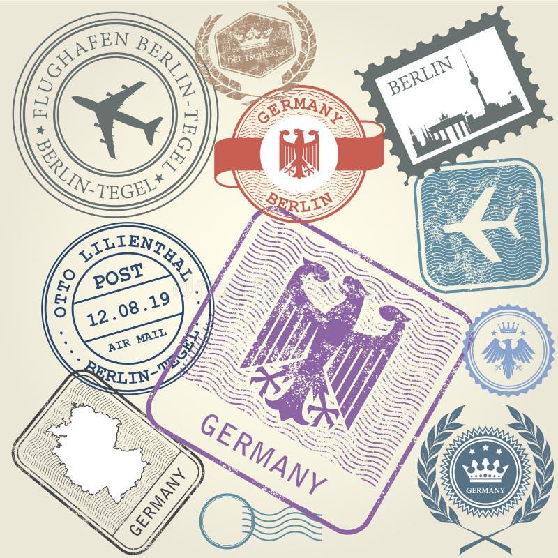 Les timbres de voyage ont placé le voyage de l'Allemagne et du Berlin illustration de vecteur