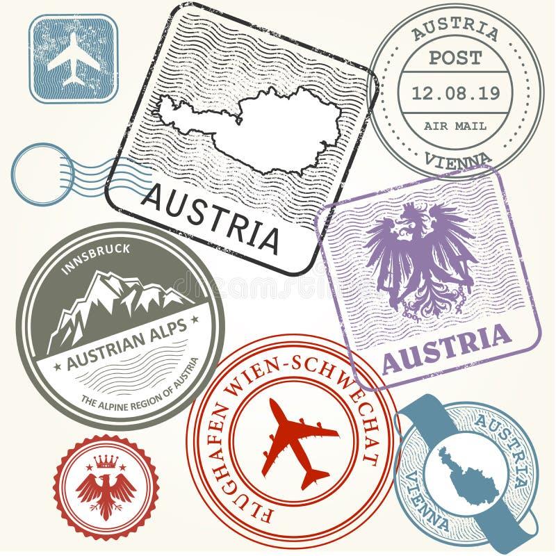Les timbres de voyage placent - l'Autriche, la Vienne et les Alpes voyagent illustration de vecteur