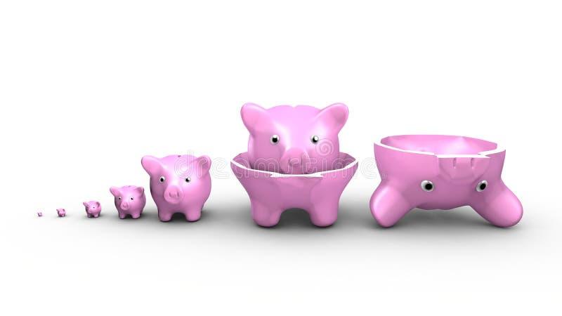 Les tirelires remplacent les poupées russes Concept d'argent d'économie illustration de vecteur