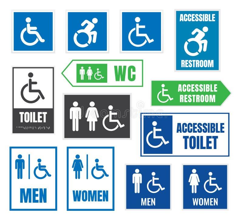 Les toilettes signent pour des handicapés, icônes accessibles d'handicap illustration libre de droits