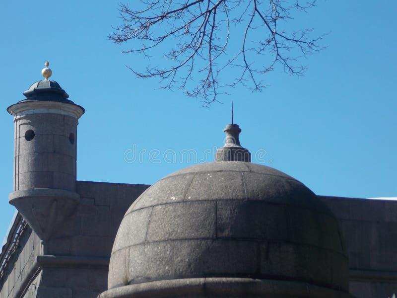 Les toits du vieux bâtiment de Pétersbourg photos libres de droits