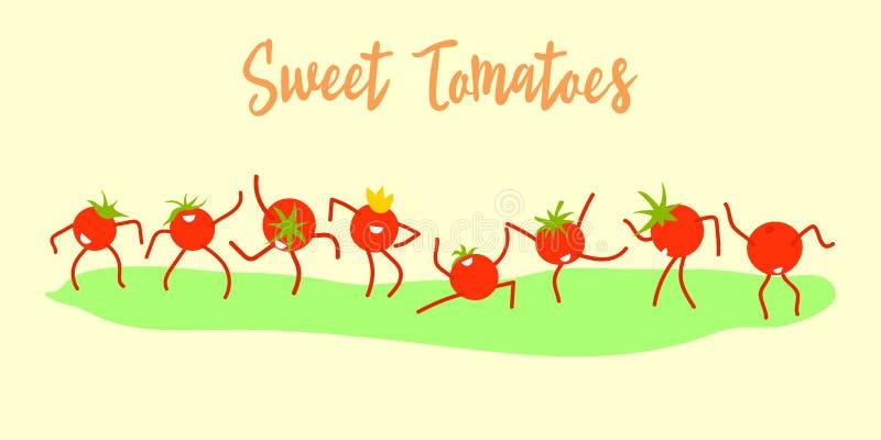 Les tomates douces de bande dessinée drôle dansent Célébration de la récolte, ventes croissantes de concept de tomates Conception illustration stock