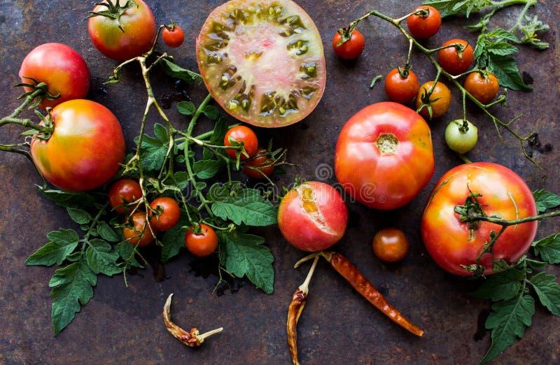 Les tomates oranges de tomates de tomates de tomates rouges colorées de jaune avec de l'eau se laisse tomber sur le fond concret  photo stock
