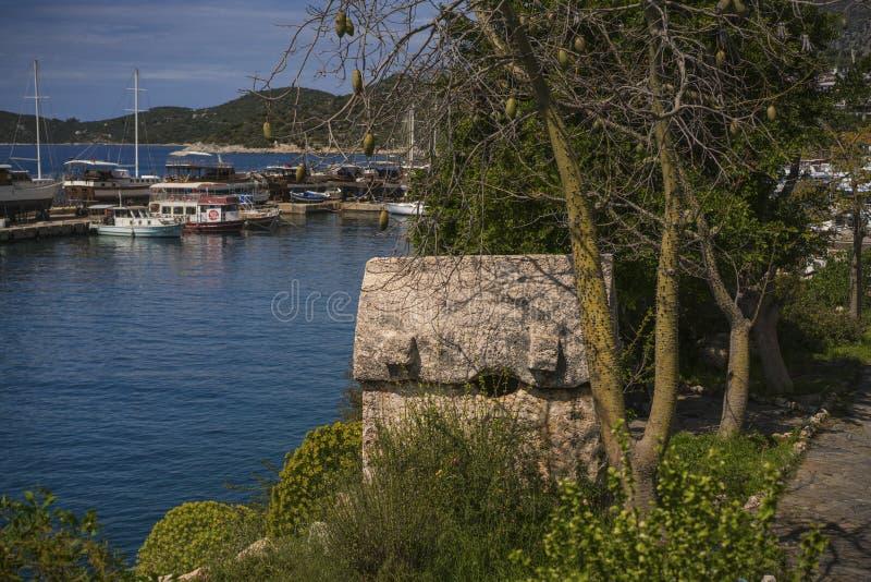 Les tombes antiques de roche de Kas, Turquie image stock