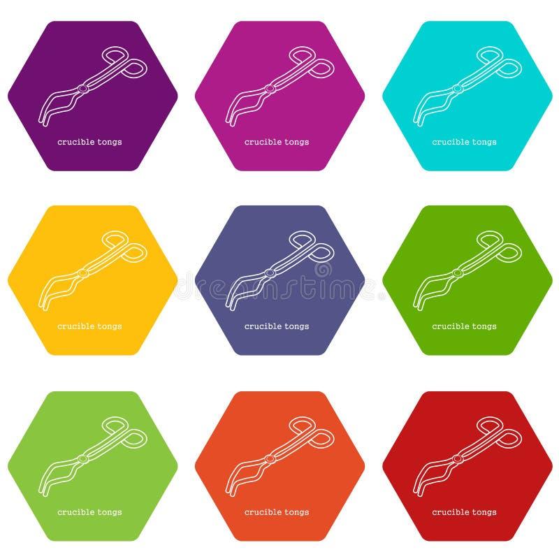 Les tongicons de creuset ont placé le vecteur 9 illustration de vecteur