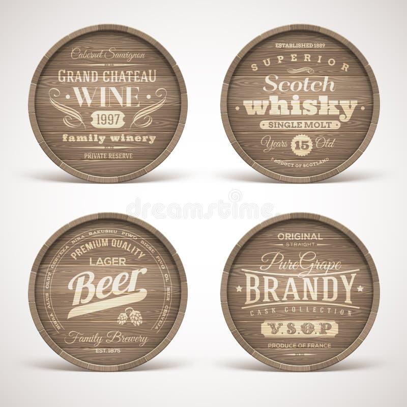 Les tonneaux en bois avec de l'alcool boit des emblèmes illustration stock