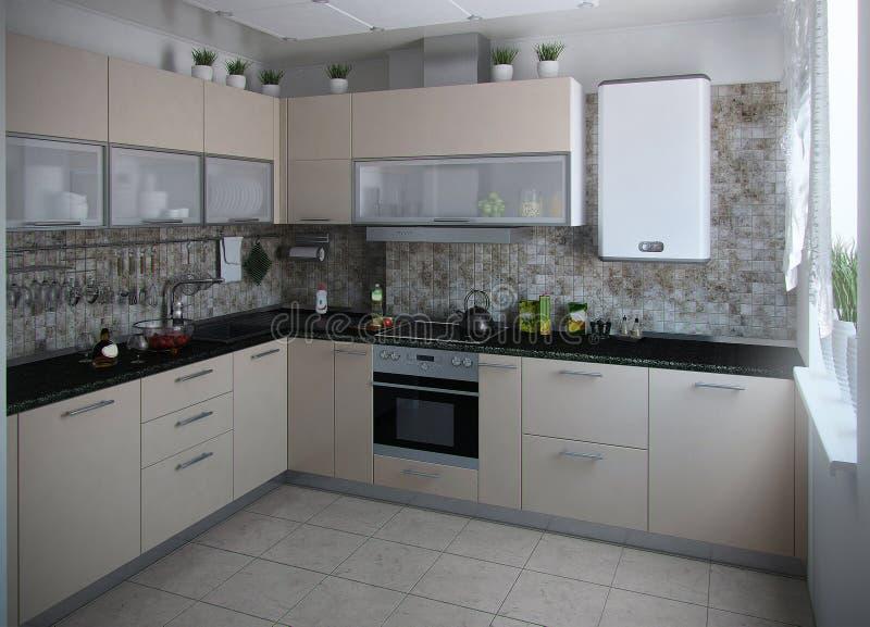 Les tons conservateurs intérieurs de cuisine moderne, 3D rendent image stock