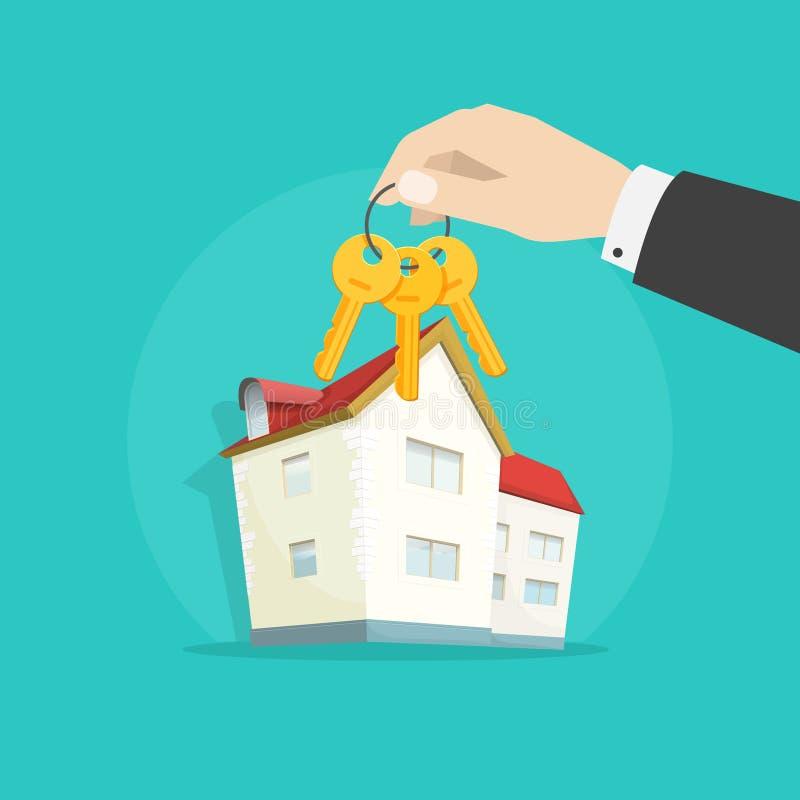 Les touches début d'écran s'approchent du vecteur de maison, concept d'immobiliers, cadeau de luxe illustration libre de droits