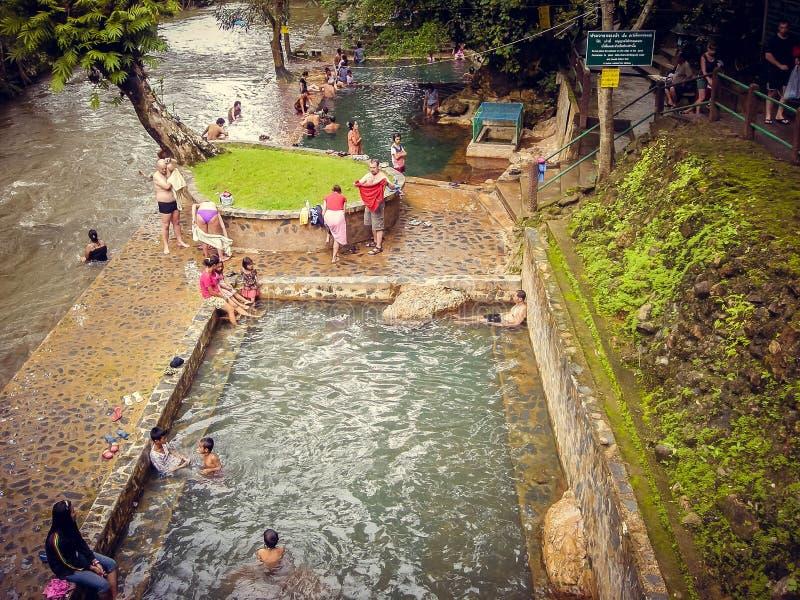 Les touristes de personnes nagent dans la piscine nue en Thaïlande photos stock