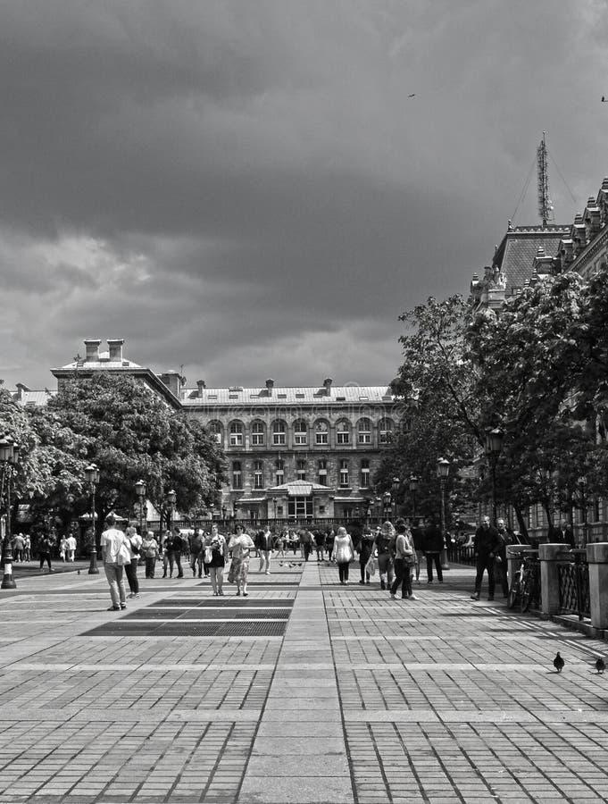 Les touristes marchent au centre de la ville pr?s de Notre Dame de Paris image stock