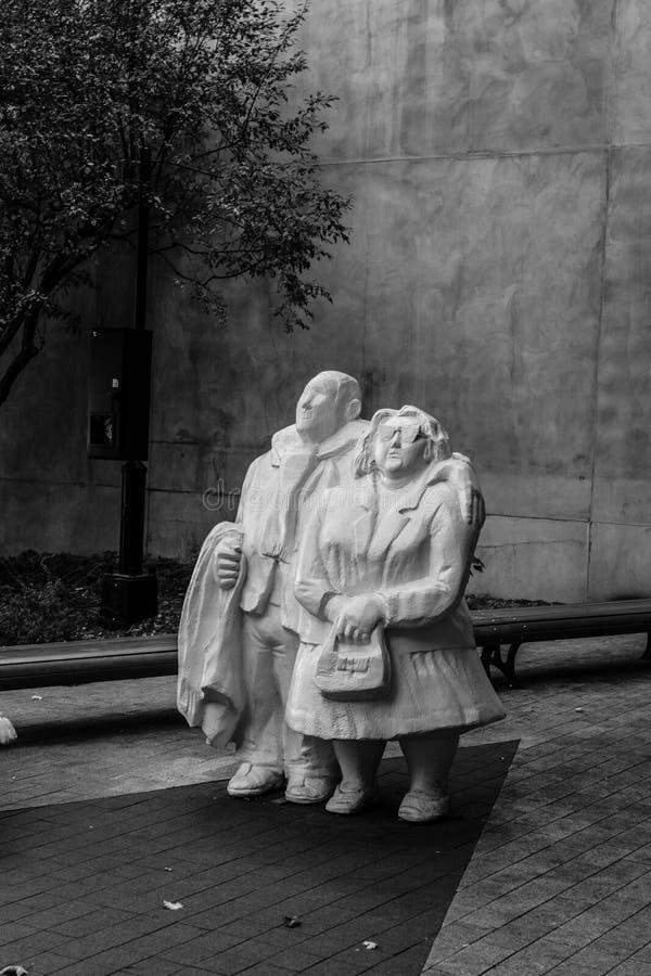 Les Touristes rzeźby w Montreal Kanada fotografia stock