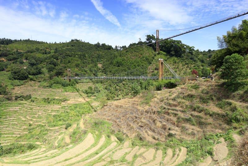 Les touristes visitent les terrasses ordonnées au-dessous de deux ponts, l'adobe RVB images libres de droits
