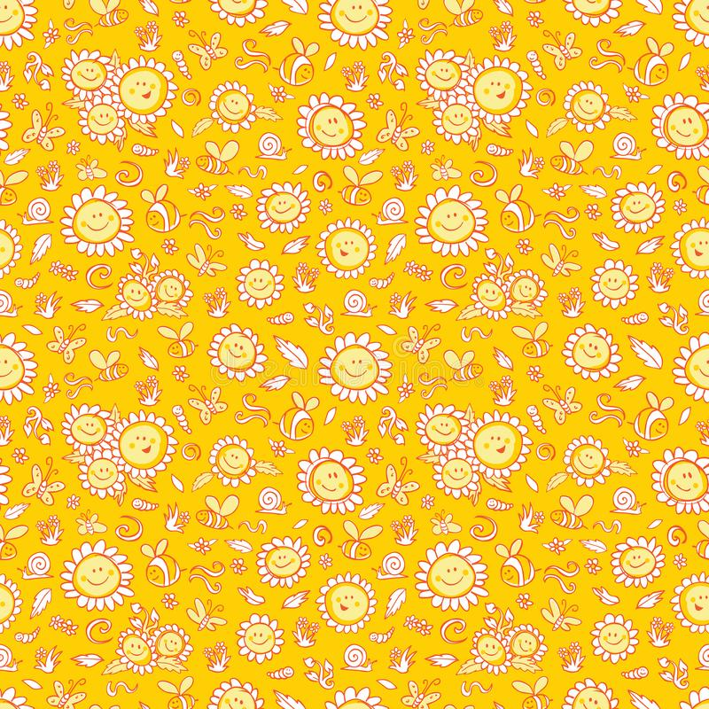 Les tournesols et les abeilles jaunes de vecteur répètent la texture de modèle avec les contours oranges Approprié à l'enveloppe, illustration stock