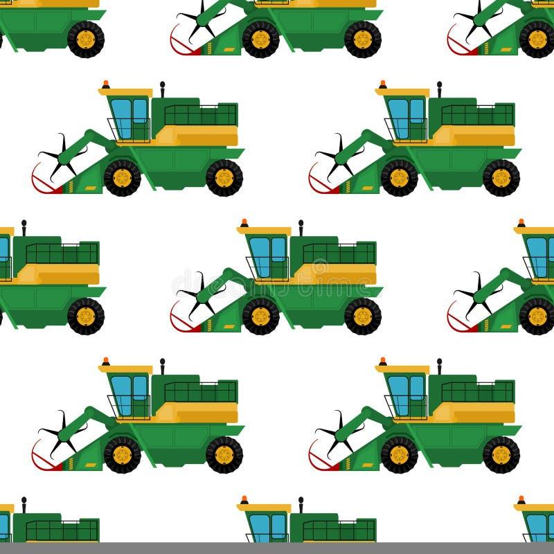 Les tracteurs sans couture industriels de machines de fond de modèle d'équipement de ferme d'agriculture combine et le vecteur d' illustration libre de droits