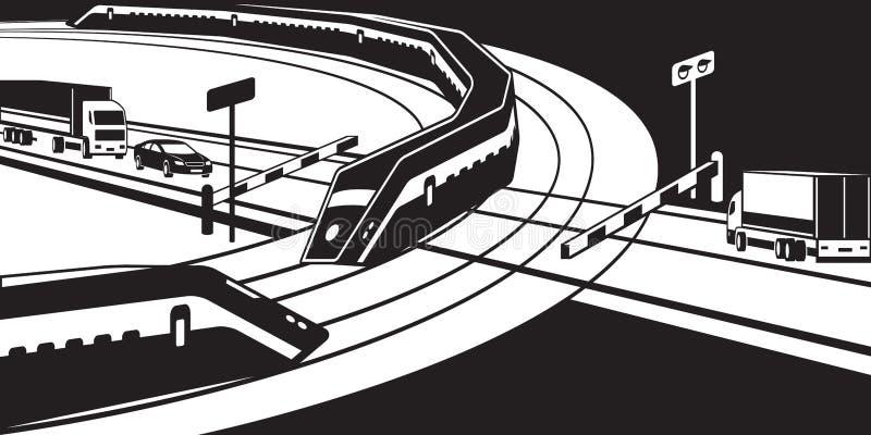 Les trains de voyageurs passant le passage à niveau illustration stock