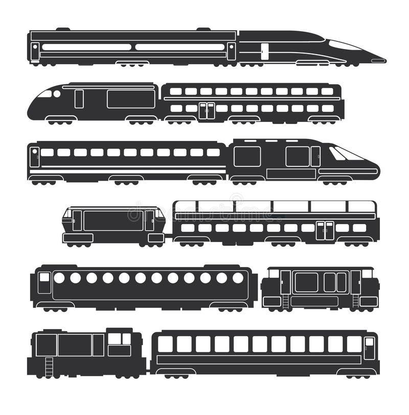 Les trains et les chariots noircissent les silhouettes ferroviaires de transport de cargaison et de passager de vecteur illustration libre de droits