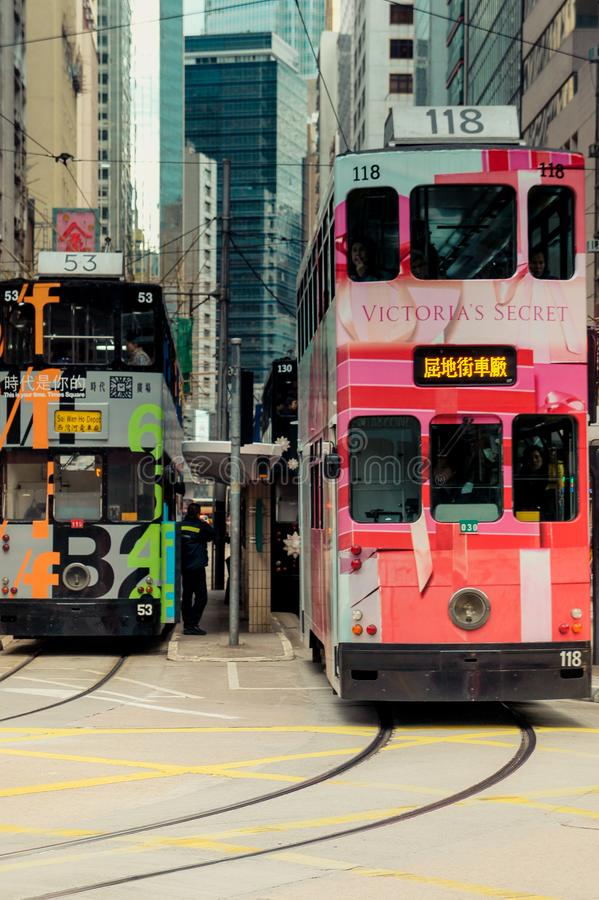 Les trams de Hong Kong sur Hong Kong Island images stock