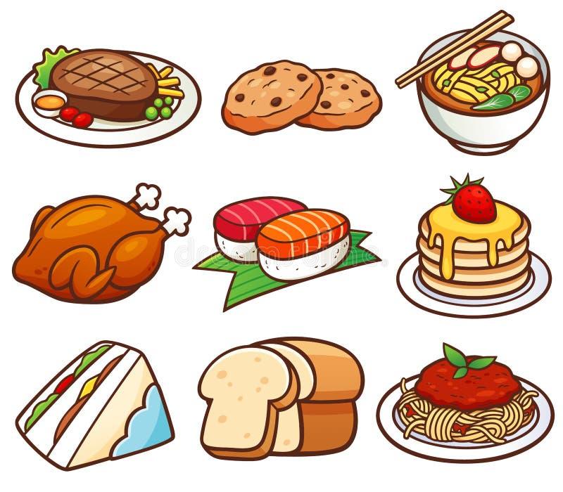 les transparences réglées de nourriture de pain d'illustration différente de gradients tape le vecteur illustration de vecteur