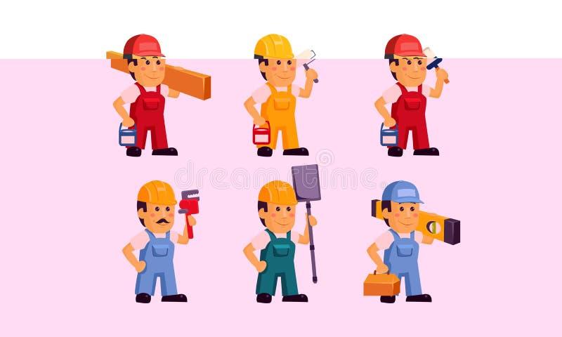 Les travailleurs de constructeur dans des combinaisons avec la trousse d'outils différente, personnages de dessin animé de person illustration libre de droits