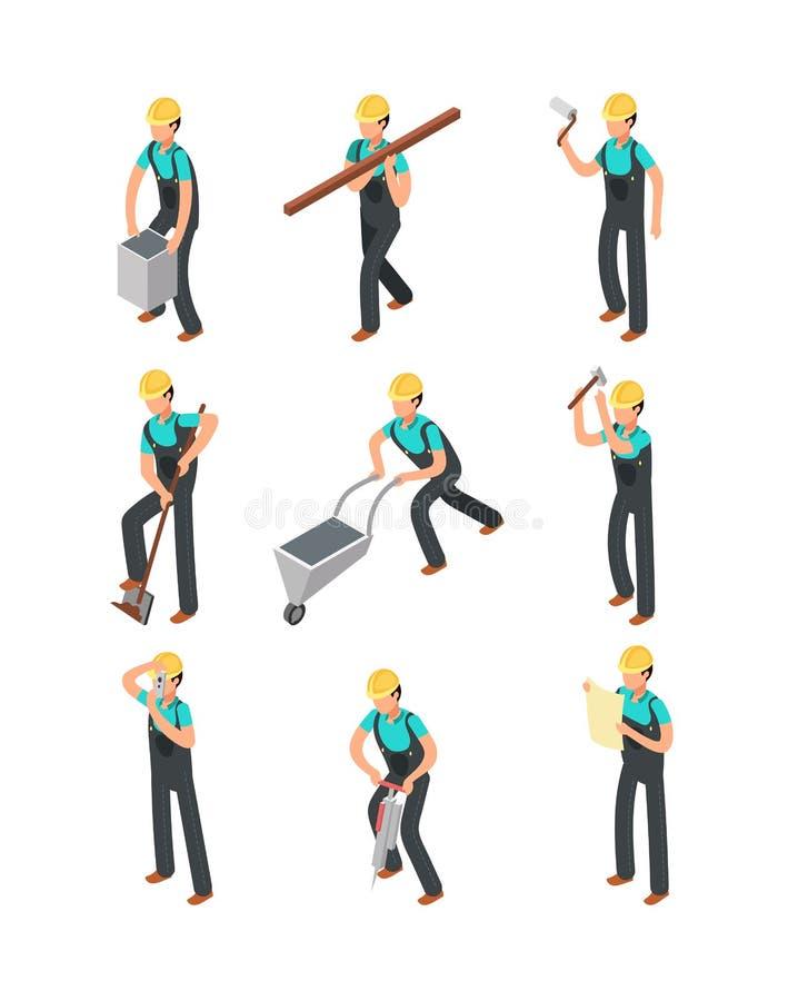 Les travailleurs de constructeur, professionnels de construction ont isolé l'ensemble de vecteur des personnes 3d illustration stock
